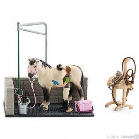 ZONA LAVAGGIO cavalli CON ACCESSORI miniature in resina SCHLEICH farm life 42104 animali esclusivi 3+