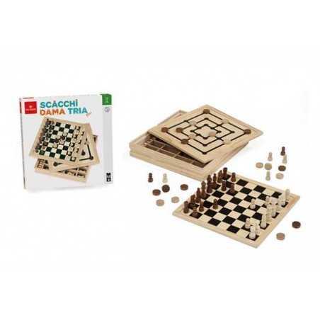 DAL NEGRO dalnegro SCACCHI DAMA TRIA PLUS triplo gioco in legno CLASSICO età 8+