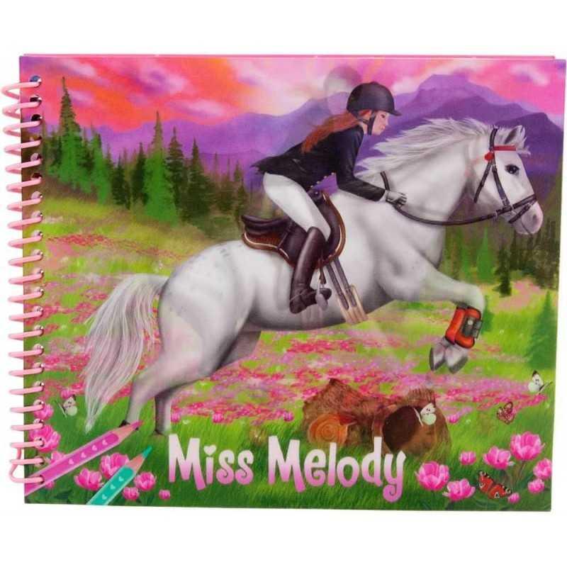 ALBUM Miss Melody 3D da colorare VESTI IL TUO CAVALLO decora CREA depesche STICKERS TATTILI