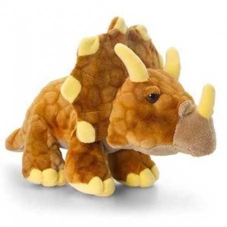 PELUCHE triceratopo DINOSAURO triceraps KEEL TOYS 25 cm OCRA pupazzo bambola FATTO A MANO