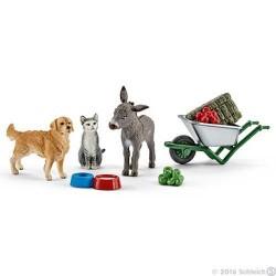 KIT DISTRIBUZIONE CIBO IN FATTORIA set da gioco FARM LIFE Schleich 41423 ANIMALI miniature in resina CAVALLI