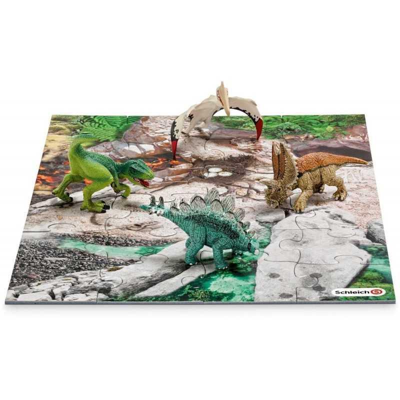 SET 4 MINI DINOSAURI con PUZZLE 24 pz SCOPERTA kit da gioco DINOSAURS Schleich 42213 miniature in resina