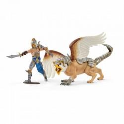 GUERRIERO CON GRIFONE gioco ELDRADOR Schleich 70129 miniature in resina CAVALIERI personaggi FANTASY età 3+