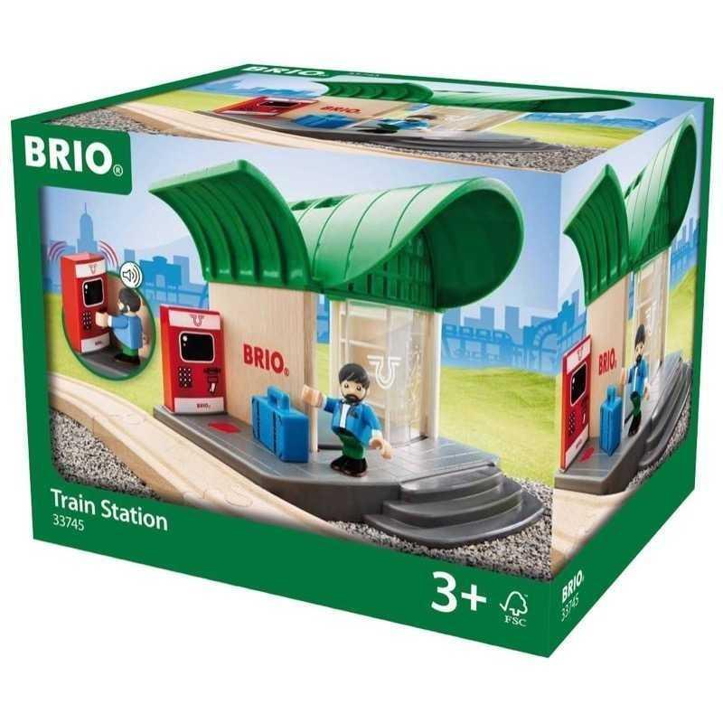 STAZIONE CON BIGLIETTERIA trenino BRIO treni in legno 33745 TRAIN STATION plastica SONORA età 3+