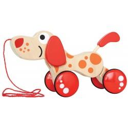 CAGNOLINO MULTI POSE cane da trainare in legno Hape E0347
