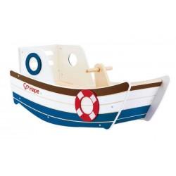 BARCA A DONDOLO in legno HAPE ship NAVE barchetta CON MANUBRIO su e giù 12 MESI +