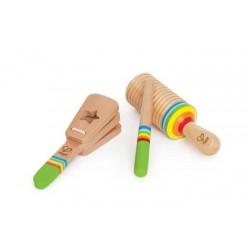 SET DI RITMI in legno HAPE strumenti MUSICALI kit SCUOTERE battere SCORRERE musica 12 MESI +