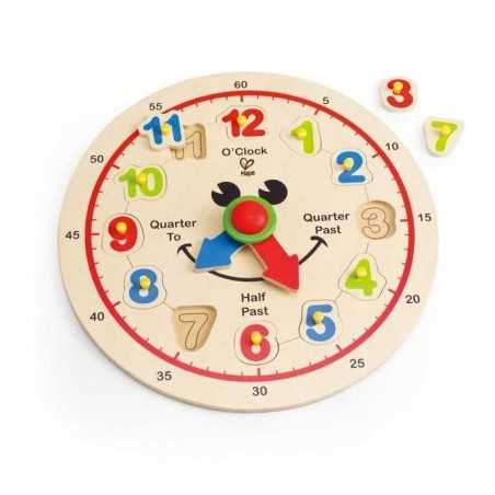 OROLOGIO HAPPY HOURS in legno HAPE imparare a leggere l'ora PUZZLE clock 3 ANNI +