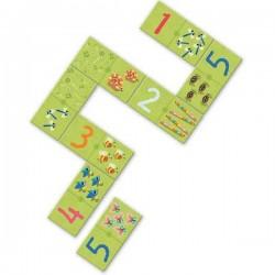 Domino 28 pezzi UNO DUE TRE Djeco GIOCO DI RICONOSCIMENTO numeri CARTONE età 4+