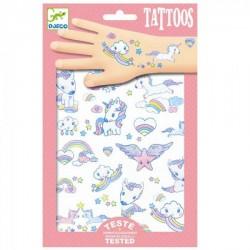 TATUAGGI UNICORNI tattoo glitter per bambini DJECO DJ09575 rimuovibili con acqua