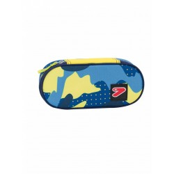 ASTUCCIO Seven ROUND PLUS The Double Project PORTAPENNE scomparto interno attrezzato CAMO porta penne GIALLO BLU