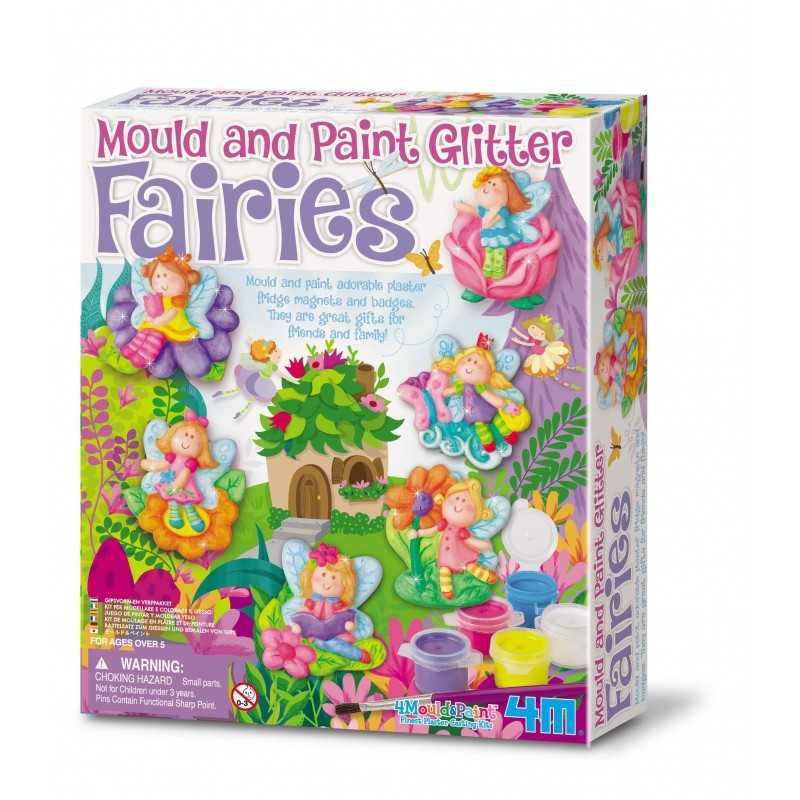 MODELLA COLORA FATE LUCCICANTI kit 4M figure gesso magneti spille età 8+ GLITTER mould and paint fairies