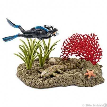 SET SUBACQUEO NELLA BARRIERA CORALLINA Schleich DIORAMA kit da gioco WILD LIFE 42328 miniature animali in resina