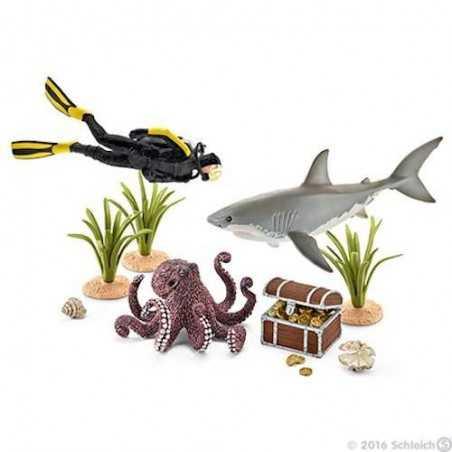 SET SUBCQUEO ALLA RICERCA DI TESORI Schleich DIORAMA kit da gioco WILD LIFE 42329 miniature animali in resina