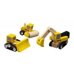 3 MEZZI DA LAVORO stradali PLAN TOYS in legno ESCAVATORE bulldozer RULLO COMPRESSORE trattore RUSPA età 3+