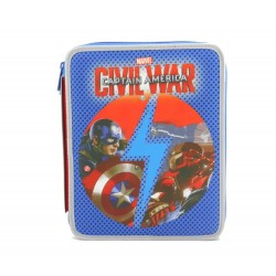 ASTUCCIO Maxi BOY 2 zip BLU Capitan America CIVIL WAR 2 scomparti SCUOLA super accessoriato CAPTAIN AMERICA Seven