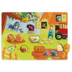 "Wooden Puzzle 14 PCs. interchangeable DJECO hairs and feathers ""age 2 +"
