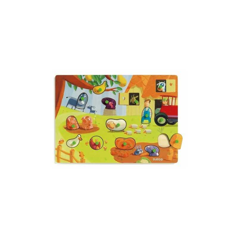 """Wooden Puzzle 14 PCs. interchangeable DJECO hairs and feathers """"age 2 +"""