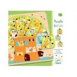 """3 Holz Puzzle """"Tree House"""" Stufe 2 Jahre +"""