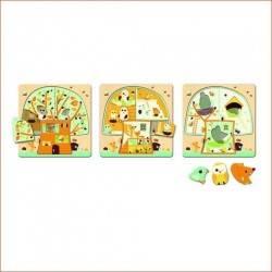 """Puzzle legno 3 livelli """"Casa sull'albero"""" età 2+"""