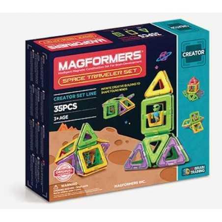 MAGFORMERS Space Traveler Set 35 PEZZI creator COSTRUZIONI magnetiche 3D età 3+