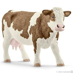 MUCCA PEZZATA ROSSA SIMMENTAL animali in resina SCHLEICH miniature 13801 Farm Life COW