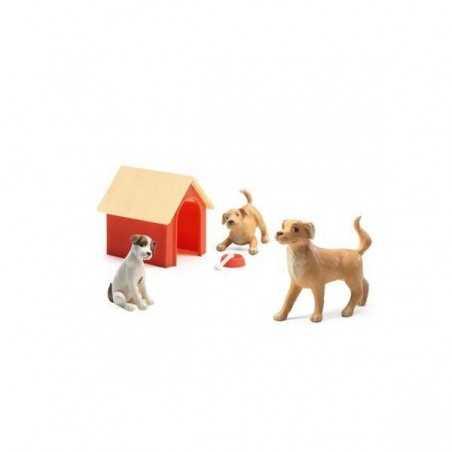 SET CANI animali da compagnia LES CHIENS casa delle bambole DJECO petit home DJ07818 età 4+