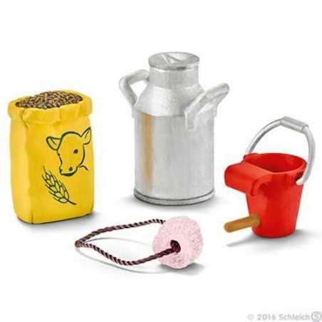 MANGIME PER MUCCA E VITELLO animali in resina SCHLEICH 42291 MUNGITURA accessori miniature FARM LIFE età 3+