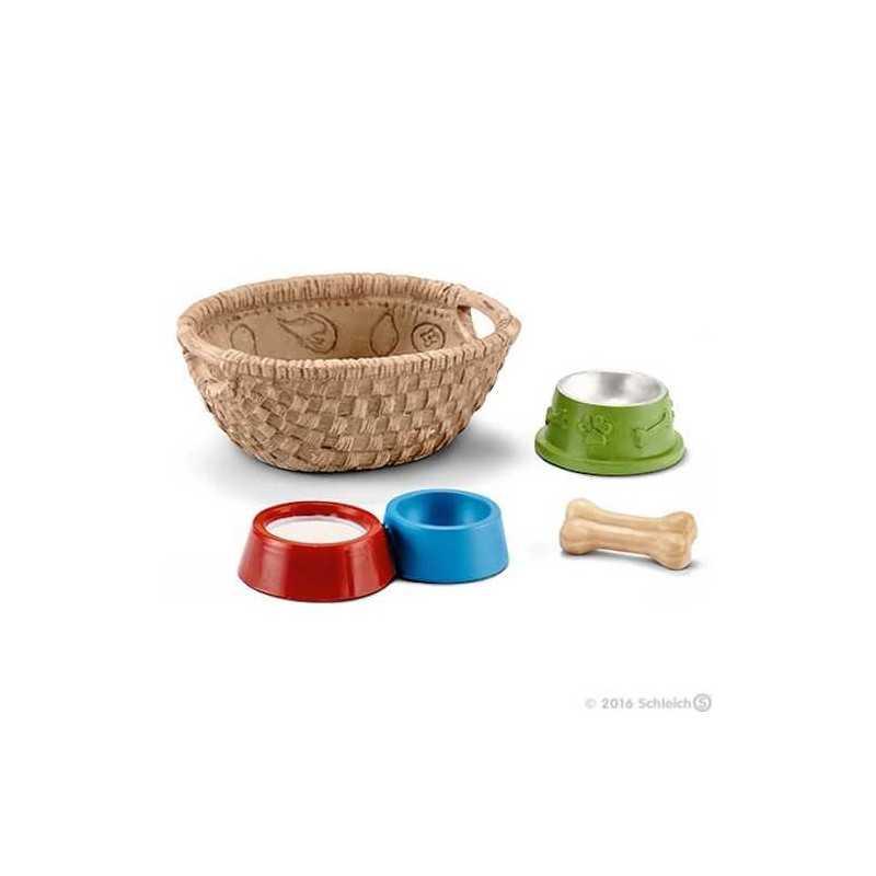 CIBO PER CANI E GATTI animali in resina SCHLEICH 42293 CESTA accessori miniature FARM LIFE età 3+