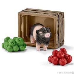 MAIALINO CON MELE animali in resina SCHLEICH 42292 MAIALE NANO accessori miniature FARM LIFE età 3+