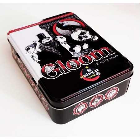 GLOOM scatola in latta CARTE TRASPARENTI horror NOIR gioco mortificante KEITH BAKER età 13+