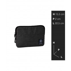 Tablet sleeve SMALL Office INVICTA tinta unita NERO tasca zip CUSTODIA busta IPAD