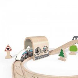SET PISTA TRENO FERROVIA DOUBLE LOOP HAPE 64 pezzi in legno doppio anello E3712