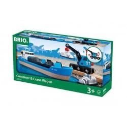 NAVE CONTAINER CON GRU freight ship and crane BRIO ferrovia TRENO trenino 33534 BOAT età 3+