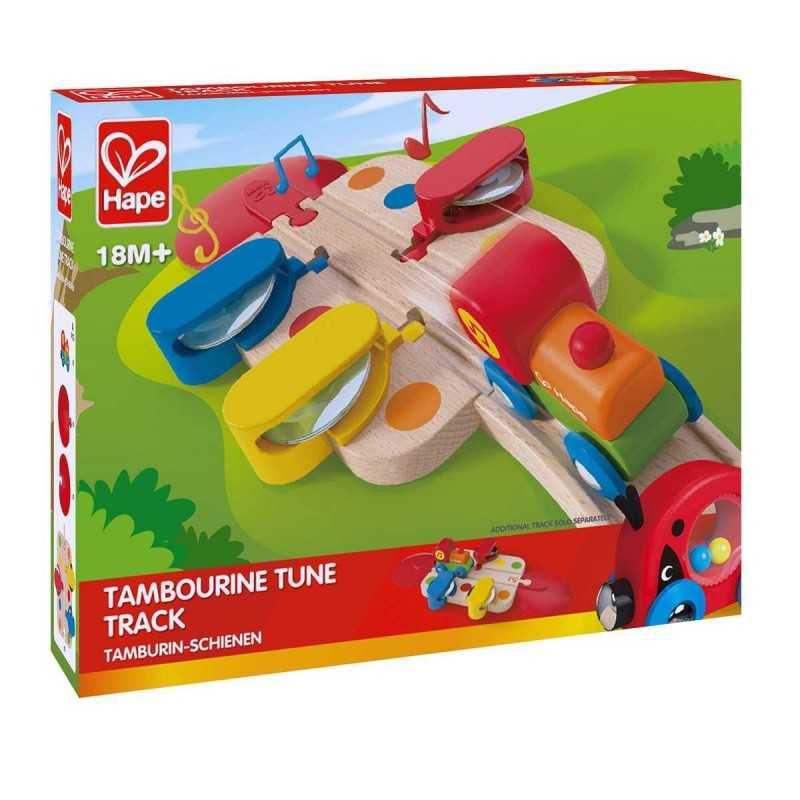 SET TRENO TAMBURELLO tambourine tune track IN LEGNO trenino E3812 treno HAPE età 18 mesi +