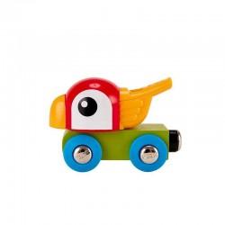 LOCOMOTIVA PAPPAGALLO FISCHIETTO whistling parrot engine TRENO trenino E3808 fischia HAPE età 18 mesi +