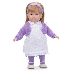 BAMBOLA con vestito a FIORI VIOLA Carla BEBE' 36 cm BERENGUER Boutique DOLL bambolotto MADE IN SPAIN età 3+