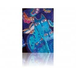 Gestreiften Tagebuch blauen Katzen und Schmetterlinge Midi 13 x 18 cm