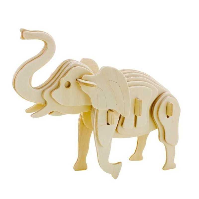 ELEFANTE puzzle 3D 3DINO in legno naturale 27 PEZZI niente colla ELEPHANT età 3+