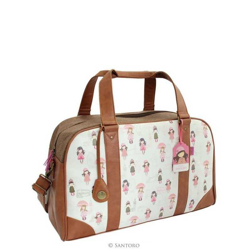 BORSA grande WEEKENDER traveller LONDON Santoro 623GJ02 Gorjuss BAG tracolla e manici