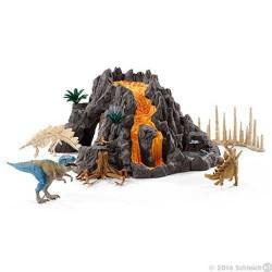 VULCANO GIGANTE CON TIRANNOSAURO t-rex DINOSAURS miniature in resina dinosauri SCHLEICH 42305 età 5+