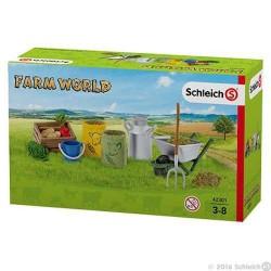 CIBO E CURA DEGLI ANIMALI DELLA FATTORIA accessori FARM WORLD miniature in resina SCHLEICH 42301 età 3+