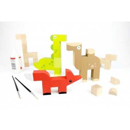 LA FABBRICA DEGLI ANIMALI in legno MILANIWOOD 100% made in Italy COSTRUZIONI età 4+