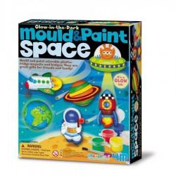 Modella e colora SPAZIO kit artistico 4M mould & paint SPACE si illumina AL BUIO età 5+