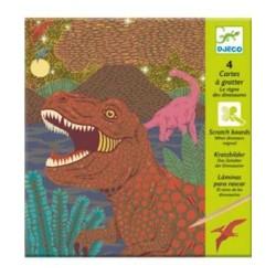CARTE DA GRATTARE scratch boards DINOSAURI kit artistico 4 TAVOLE gioco set DJECO DJ09726 età 6+