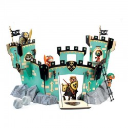 CASTEL ON ZE ROCK Djeco IN LEGNO castello per miniature ARTY TOYS action figure in resina DJ06737 età 4+