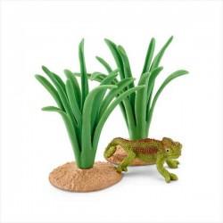 SET CAMALEONTE TRA LE CANNE animali in resina SCHLEICH accessori 42324 miniature WILD LIFE età 3+