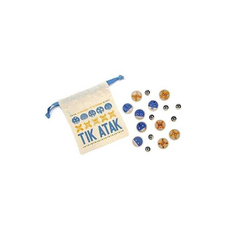 TIK ATAK Les Jouets Libres TRIS gioco classico in legno TIC TAC TOE età 5+