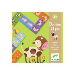 Domino 28 pezzi FATTORIA Djeco GIOCO DI RICONOSCIMENTO numeri CARTONE età 3+