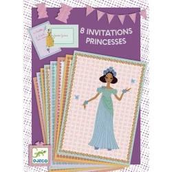 BIGLIETTI D'INVITO E BUSTE 8 invitations des princesses COMPLEANNO principesse DJECO 4 soggetti